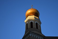 St. Olga's Orthodox Church (JoannaRB2009) Tags: church orthodoxchurch stolgasorthodoxchurchind d lodz polska poland building architecture tower gold golden sky blue