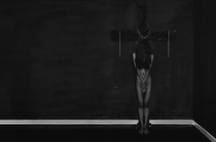 came a cross (polo.d) Tags: cross dark noir drama nude implied body girl female scary creepy silhouette satanic bw monochrome