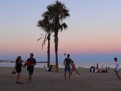 Night is falling on Barceloneta beach, Barcelona (jackfre 2) Tags: catalunya spain barcelona barceloneta barcelonetabeach beach bathers sea restaurants diners