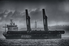 Jumbo (Luis-Gaspar-less-active) Tags: barco boat vessel heavyliftvessel navio naviocargueiro naviodecarga naviodecargapesada jumbo jumbojubilee portugal oeiras pacodearcos tejo riotejo tagus tagusriver mono monocromatico monochrome pb bw nikon d60 55300 f56 14000 iso400