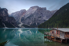Silence (Radisa Zivkovic) Tags: lake mountain dawn cabin travel dolomites italy alps rock woods peak boat tree pier reflection tranquil idyllic lone landscape high nature scenery outdoor green beautiful wilderness moody environment
