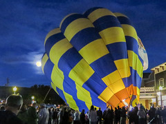 balloon and moon downtown (maryannenelson) Tags: night colorado durango downtown balloons glow rally