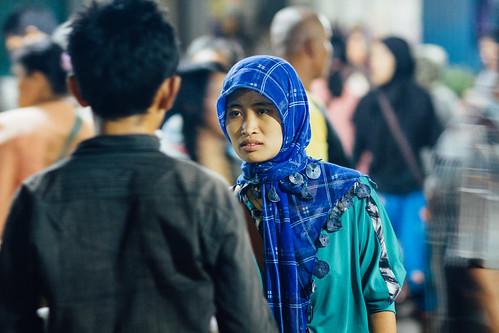 Woman in Hijab Talking with Man, Buleleng Indonesia