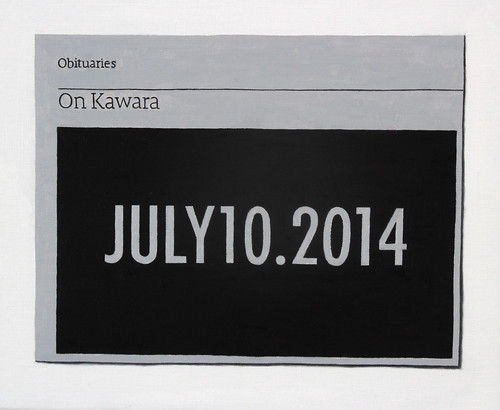 Hugh Mendes 'Obituary: On Kawara', 2014 Oil on linen 25x30cm