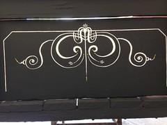 1913 Reber Wagon Tailgate (sherrylpaintz) Tags: sherrylpaintz reberwagonworks 1913 samkrieder tailgate repainted scrollwork painting pinstriped pinstripe belgianhorsescentreportcentennialbook vintage antique painter striping wheelbarrow