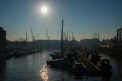 Winter sun..... (Dafydd Penguin) Tags: winter sun bristol floating harbour harbor port dock water reflections city centre urban bridge st augustines reach moorings pontoon nikon df nikkor 35mm af f2d