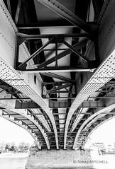 Margaret Bridge Budapest built in 1872, it was the second permanent bridge built. (TimeTraveller37) Tags: travelbudapest sunny nopeople outside beautiful 1755mm canon1755mm canon7d canon travelphotography travel monochrome mono whiteandblack blackandwhite water river riverdanube iron europe hungary budapest margaretbridge bridge architecture