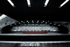 [STM_Series] : Red Bench (s.W.s.) Tags: montreal quebec canada metro station urban underground bench red nikon architecture lights indoor lightroom