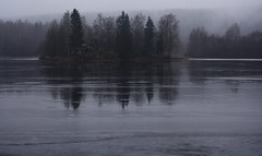 Lake Kallavesi, November V (Janacekian) Tags: november winter ice frozen lake landscape mist trees forest woods reflection