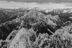 Treen Peak Looking North (Scott_Nelson) Tags: baring washington unitedstates us cascades cascadesfromtheair northcascadesfromtheair monroe airphotography blackandwhite mountians