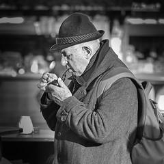pipe smoker (heinzkren) Tags: portrait man mann pfeife pipe smoker raucher hut hat sterreicher austrian typ typical original rucksack backpack outfit traditionaloutfit austrianlook look blackandwithe biancoenero konzentration natural tabac naturaltabac oldfashion pfeifenraucher steirerhut streetlife styrianstyle style smoke genus enjoyment smoking pleasure street wien vienna austria streetfoto streetfotografie people menschen leute personen