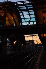 Transfer (tom.leuzi) Tags: 50mm bern berne canoneos6d city eisenbahn fahrleitung geleise leute lokomotive menschen personen sigma50mmf14dghsmart schiene sigmaart silhouette sonnenuntergang zug contactwire dusk line locomotive people rail railway street sunset track train urban