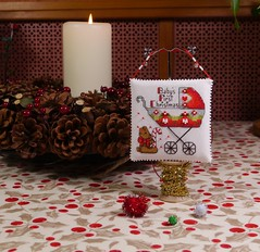 Baby's First Christmas (1) (GATACA1952) Tags: crossstitch embroidery christmas ornament pillow evenweave kreinik dmc millhill beads baby pram teddybear stroller opalescent victorian candycane nol