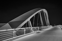 aosborne_proj4_shot5after (AllysonOsborne) Tags: blackandwhite bnw columbusohio nightphotography longexposure mainstbridge mainstbridgecolumbusohio bridges bridge suspensionbridge