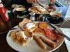 Cracking breakfast at Tribeca (Filmstalker) Tags: breakfast mobile tribeca frenchtoast hashbrowns sausages bacon coffee