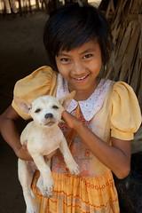 Young Girl and Puppy, Myinkaba Village (Peter Cook UK) Tags: girl puppy burma myanmar bagan myinkabavillage