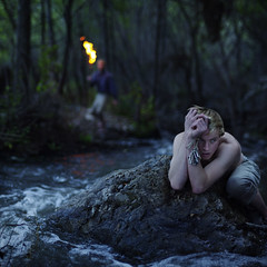 The thief and the chase. (David Talley) Tags: lynch wet rock forest river sketchy hair keys fire scary pants bokeh smoke evil running mob hide thief scared hiding crouch fiery rushing 365project davidtalley kiararose