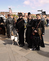 Whitby Goth Weekend 23 (Beachcomber ( By The Bay )) Tags: people beach monochrome festival female photoshop canon photography mono coast seaside interesting north goth 19thcentury perspective victorian steam coastal corset coastline popular northeast seashore period edwardian fascinating powered steampunk northeastcoast bythesea calmsea seasides whitbygothweekend coastallife 450d canoneos450d photoshopelements80 beachcomberbythebay