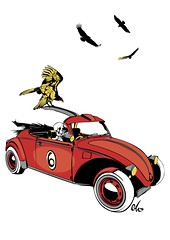 Death on holiday (MarvinThaMartian) Tags: old holiday bird car vintage dark comics dead skeleton death skull hawk emo beetle run morte horror macabre vulture 500 vacancy vector greedy vacanza crossbones teschio noire deathshead predatory rapacious ossa predaceous vettoriale avvoltoio