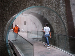Waterfall Glass Tube Tunnel Midtown Manhattan 9953 (Brechtbug) Tags: park street new york city bridge fall water glass wall way waterfall walk manhattan tube bridges tunnel midtown half block through tunnels 7th 6th between avenues 48th 2013