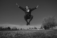 It's a black or white day (Flickr_Rick) Tags: blackandwhite outside spring jump jumping rick suit leap leaping jumpology lovetoleapthursday
