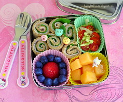 Sandwich Rollups EcoLunchBox Bento (sherimiya ) Tags: school turkey tomato bread lunch kid strawberry sesame sheri sandwich delicious homemade slaw cabbage bento brie spinach blueberries cantaloupe rollups obento sherimiya ecolunchbox solocube