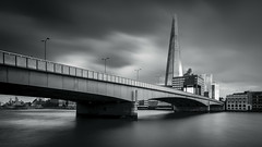 London Bridge II (vulture labs) Tags: longexposure bridge bw london art monochrome architecture clouds londonbridge photography mono photo nikon fine monotone monochromatic photograph crop daytime 169 cloudscape cloudporn londonskyline bwfilter daytimelongexposure nd110 nd106 theshard