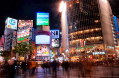 Shibuya Crossing @ Midnight (eujinson) Tags: longexposure people japan night lights tokyo nikon shibuya busy nippon nikkor