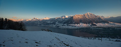 Panorama of the mountains around Lake Lucerne 1 (Michael Walker) Tags: winter sunset panorama mountain lake snow alps water landscape cityscape view vista serene lucerne nidwalden