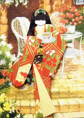 ATC1202 - Time for tea (tengds) Tags: flowers red black yellow table chair tea tissue geisha porch kimono obi origamipaper papercraft japanesepaper washi ningyo handmadecard chiyogami yuzenwashi japanesepaperdoll origamidoll tengds nailartstickeratc