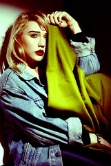 Vintage. (ShannonBell_) Tags: lighting blue red green studio jacket portraiture denim harsh toner