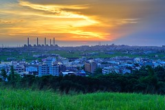 Taichung power plant@ (Vincent_Ting) Tags: sunset sky plant color clouds boat stream taiwan  taichung powerplant formosa  crepuscularrays          vincentting