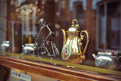 Coffee Shop Window (Nathaniel Avery) Tags: window glass silver reflections gold coffeeshop pot stratforduponavon