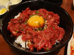 Beef Tartare with Raw Egg Yolk on Rice @Horumon-Ichiba, Shanghai (Phreddie) Tags: china food dinner japanese raw shanghai beef sashimi bbq meat grill eat barbecue izakaya liver offal ichiba horumon 130719