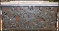 Cranbrook School: Full View, Bas Relief, Cranbrook Football (pinehurst19475) Tags: bronze football athletics michigan sculptor basrelief davidevans bloomfieldhills nationalregister nationalregisterofhistoricplaces cranbrookschool sculpturalrelief mihistoricsite cranbrookkingswoodschool cranbrookschoolforboys nrhpdistrict73000954