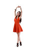 Full height portrait of relaxing young asian woman hand up stretching herself, Isolated over white with clipping path (Patrick Foto ;)) Tags: portrait people woman white black girl beautiful beauty up smiling lady female youth standing asian thailand happy person one healthy model hands pretty alone hand looking arms adult background young relaxing lifestyle style happiness excited fresh full jeans teen human thai attractive teenager casual positive cheerful joyful relaxed length isolated teenage