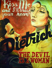 The Devil is a Woman (HattersAndMasks) Tags: old school woman art film project painting 1930s kiss acrylic marlene devil dietrich uarts fashioned