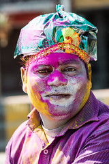 Faces of the Color Festival (Gigin - NoDigital) Tags: people india man colors face hat other eyes colorful asia powder clothes laugh geography activity bodyparts jaipur holicolorfestival