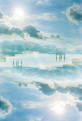 City in the Sky (BlueGoo Studios) Tags: sun skyline clouds kodak richmond 400 portra rva unicolor homedevelopment
