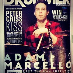Check out @adam.marcello on the cover of Drummer Magazine this month! Make sure you get this issue!! #qdrumco #drummermagazine #itsallhisfault