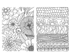 flowers and geometrics coloring page (sneezerville) Tags: flowers art nature floral illustration pages drawing patterns coloring doodles markers rectangles micron zentangle