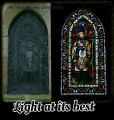 How a dull looking window looks with the correct lighting. (pentaxamania) Tags: lighting light window stainedglass stainedglasswindow boltonabbey
