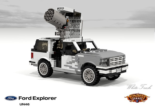 auto show usa white ford sports car monster trash america truck tv garbage model lego render garage explorer utility vehicle suv 90 challenge 1990s 1990 cad lugnuts povray moc ldd foolsrushin miniland lego911 un46