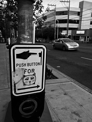 Cat Walk (zenseas) Tags: cat feline catwalk crosswalk graffiti seattle lowerqueenanne bw blackandwhite monochrome iphone iphone7plus urban city mercerstreet mercer morning early explore explored funny curious silly humor