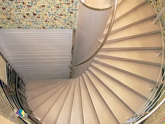 Metal spiral staircase (IgorTravkin) Tags: steps metal staircase buildings spiral architecture bannister curve circle up steel indoors construction escalator office railing down shape scene symbols many geometric nowhere iron urban emergence upstairs stair spiralstair bottom