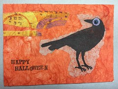 Happy Halloween! (witt0071) Tags: postcard raven halloween tissuepaper mailart sticker gelli stencil mixedmedia napkin rubberstamp swapbot