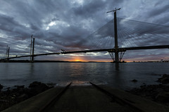 Sunset at the Crossing (Fifescoob) Tags: forthbridges queensferry forth night queensferrycrossing sunset canon 5ds construction landscape colour scotland fife edinburgh