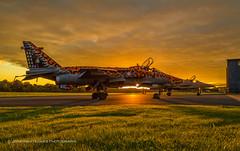 Jaguars' sunset (Nimbus20) Tags: sepecat jaguar gr1 raf royalairforce jet aircraft aerroplane plane shropshire airfield airport hangar sunset clouds warm sky grass dark wheels fast rollsroyce cosford