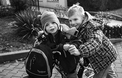 street IV (lubokl47) Tags: boys bw bicycle children czech panasonic afternoon street
