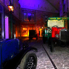 Museum Street (Lemon~art) Tags: museum cars transport vintage street old reconstructed remembered shops subway lorry hearse texture manipulation light colour